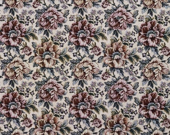 Green Red And Beige Floral Tapestry Upholstery Fabric By The Yard | Pattern # F654