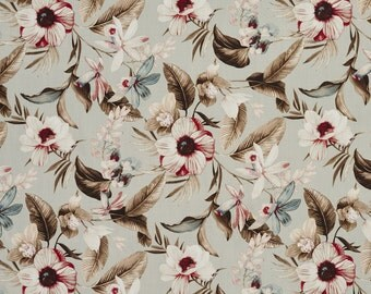 Pink Brown and Blue Flowers and Leaves Cotton Print Upholstery Fabric By The Yard | Pattern # B0300B