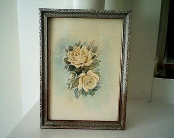 40s YELLOW ROSE PICTURE Embossed Muted Pastels Simply Lovely