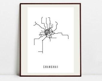Shanghai Metro Map - Black and White Art Print - Digital Download Art Print