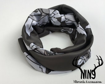 infinity scarf, infinity cowl roses, monochrome flowers triangles, geometric, grey and white, for baby and kids, one size fits all 0 - 6T
