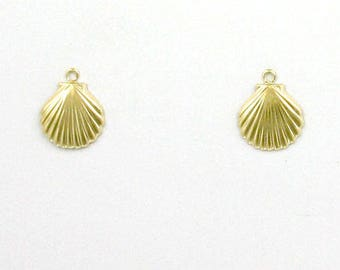 14k Gold Filled Shell Charms, Set of 2