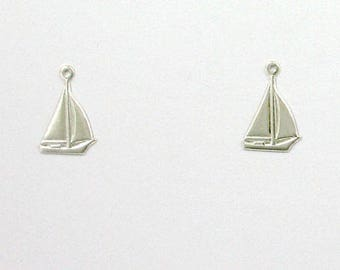 925 Sterling Silver Sailboat Charms, Set of 2 - stc-SS133