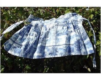 Vintage 1940s 1950s Heavy Printed Cotton Half Apron Blue & White Town Print Handmade