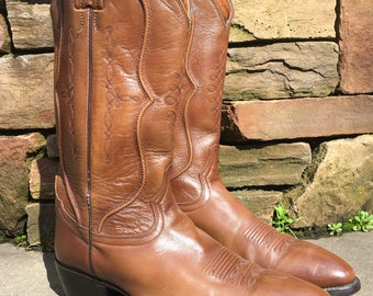 Vintage TONY LAMA Brown Leather Cowboy Western Boots Men's Sz 10.5 D