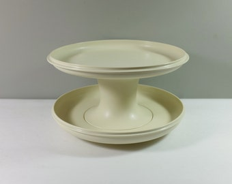 Vintage Tupperware Cake Stand and Dip Set - Tupperware 3 Piece Almond versatile Serving Tray, Cover and Stand - Tupperware Serve-It-All