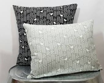 Custom made cotton black or gray and white bird and berries tree pillow cover/sham. Custom sizes.