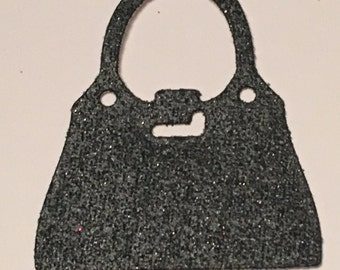 12 die cut handbags - black glitter