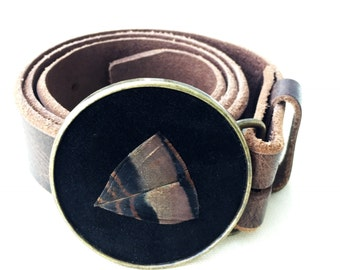 Feather Belt Buckle In Black