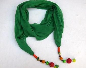 green scarf/ chiffon scarf/ tassel scarf / fashion scarf/ trendy scarf/ gift scarf / gift ideas.