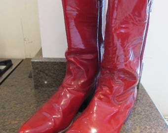Mens 1980's Vintage Red Patent Leather Cowboy Boots - UK Size