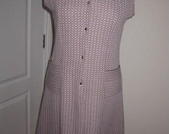 Vintage Handmade Pink And Black Sleeveless Mod Gogo Day Dress L