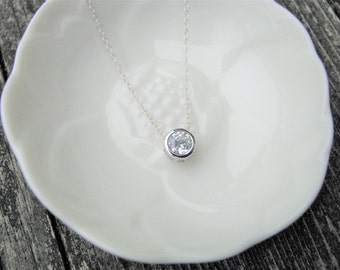 Tiny Sterling Silver Cubic Zirconia Pendant, Bridesmaid Jewelry, Gifts for Her