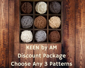Knitting patterns - Discount design pattern package - Choose any 3 patterns - Easy knitting tutorial patterns