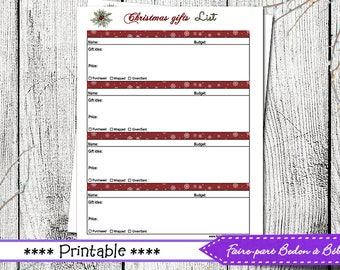 Christmas gifts list - Digital printable - Gifts list - Christmas printable - Gifts list printable
