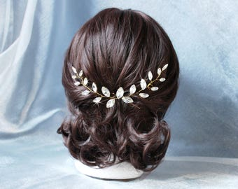 Bridal hair vine, Sparkel crystal hair vine, Gold leaf hair vine, Wedding hair pins, Wedding Hair accessories,