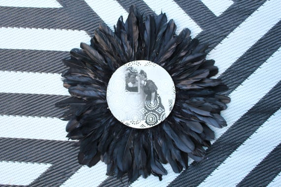 Frida Kahlo Reflections Black & White Feathers Round Wall Art, Boho Design,  Timber Porthole