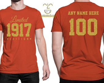 1917 GOLD Limited Edition 100th Birthday Party Shirt, 100 years old shirt, limited edition 100 year old, 100th birthday party tee shirt