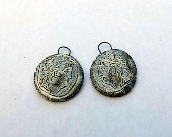 Classic Greek Profile, Rough Artifacts, ceramic Earring Pair, Wabi Sabi, impressed, Greek Coin, withered jewellery supply, pearl glaze,OAK