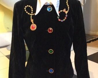Vintage ladies black velvet tailored jacket