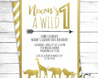 Wild ONE Gold Safari Birthday Invitation