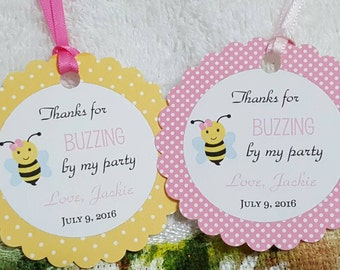 "Personalized Favor Tags 2 1/2"", Thank  Favor tags or stickers, bee, what will bee, bee theme,  bee party, bee birthday party,  labels"
