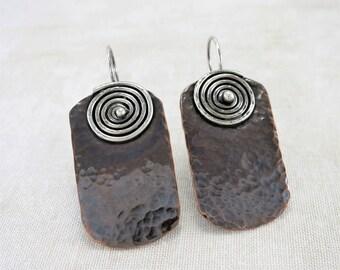 Copper Earrings ~ Dangle Earrings ~ Geometric Earrings ~ Rustic Earrings ~ Mixed Metal Earrings ~  Drop Earrings ~ Rectangle Earrings