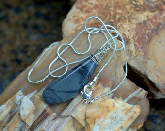 Gray stone pedant Picasso Jasper handmade jewelry silver wire set gemstone necklace