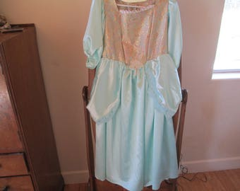 Princess Dress - Mint Green Child's Costume - Used on stage in Production of Cinderella - Satin!