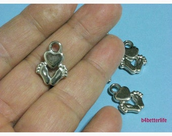 Lot of 28pcs Love Sign Double Sided Silver Color Plated PVC Charms. #XL169.