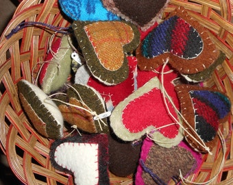 Felted wool hearts-Wool ornaments-Upcycled wool ornaments