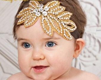 Baby headband,gold baby headband, bridal headband,flower girl headband,gold rhinestone headband,Christmas headband, Navy Blue Gold Headband.