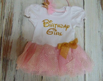 Princess Themed First Birthday Dress- Cute Pink and Gold Princess Outfit Personalized Age 1-Matching Tiara included-3 piece set