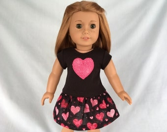 Valentine Heart T-Shirt and Pink and Black Heart Skirt for American Girl/18 Inch Doll