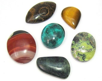 Several Gemstone cabochons with or without rill - select several stones for a total of 20 Euros