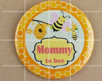 3.5 button pin, bumble bee baby shower button badge pins, honey bee baby shower pin, what will it bee