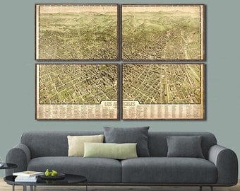 1909 Map of Los Angeles,  LA panoramic map - 4 large/XL sizes up 80x54 (printed in 1 or 4 pieces)