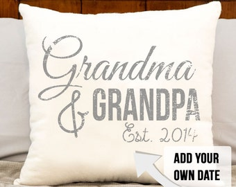 grandma and grandpa pillow, grandparent christmas gift, grandparent gift, grandma, grandpa, est date, personalized pillow