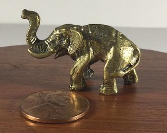 Miniature Figurine Brass Elephant Animal Metalwork Art #2