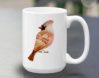Female Cardinal Coffee Mug 15oz., Stylized Bird, Colorful wild bird,female bird,cute bird,red tan black feathers,for birders and bird lovers