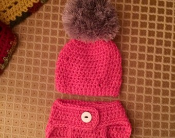 Crochet Faux Fur Beanie Hat and Diaper Cover .. Newborn to 3 months Photo Prop Set