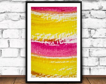 Orange & Pink Abstract Painting Print, Rustic Home Decor, Ink Brush Stroke, Fine Art Home Decor, Printable File, Digital JPG, Decoratif JPG