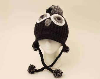 Owl Crochet Hat with Pompoms