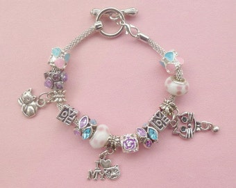 "9-Silver Plated European Style Charm Bracelet ""Love my Cat"" 1"