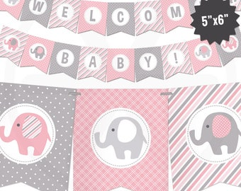 Pink Elephant Baby Shower Banner - Girl Baby Banner - Pink and Gray Baby Shower Decorations - Baby Girl Decor - Printable Garland