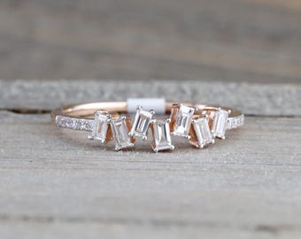 Manhattan 14kt Rose Gold Round Brilliant And Baguette Cut Diamond Ring Engagement Wedding Band Promise Stackable Stacking staggered