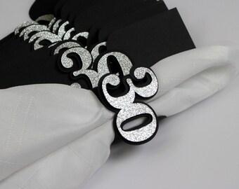 Black & Silver 30 Napkin Holders, 12pcs