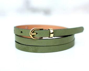 Free shipping! Woman leather belt, green belt, pistachio belt, green leather belt, dark green belt, skinny belt, waist belt