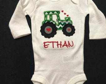Monogrammed and Appliqued Valentine Tractor Bodysuit for  Baby Boy Baby Girl 0-18 months or a T-shirt 18 months - 3T 4T 5T. Personalized