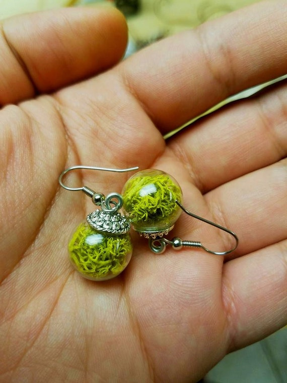 Green moss earrings - nature jewelry Handmade Jewelry, Boho style, Natural Moss